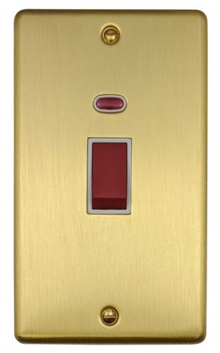 G&H CSB28W Standard Plate Satin Brushed Brass 45 Amp DP Cooker Switch & Neon Vertical Plate